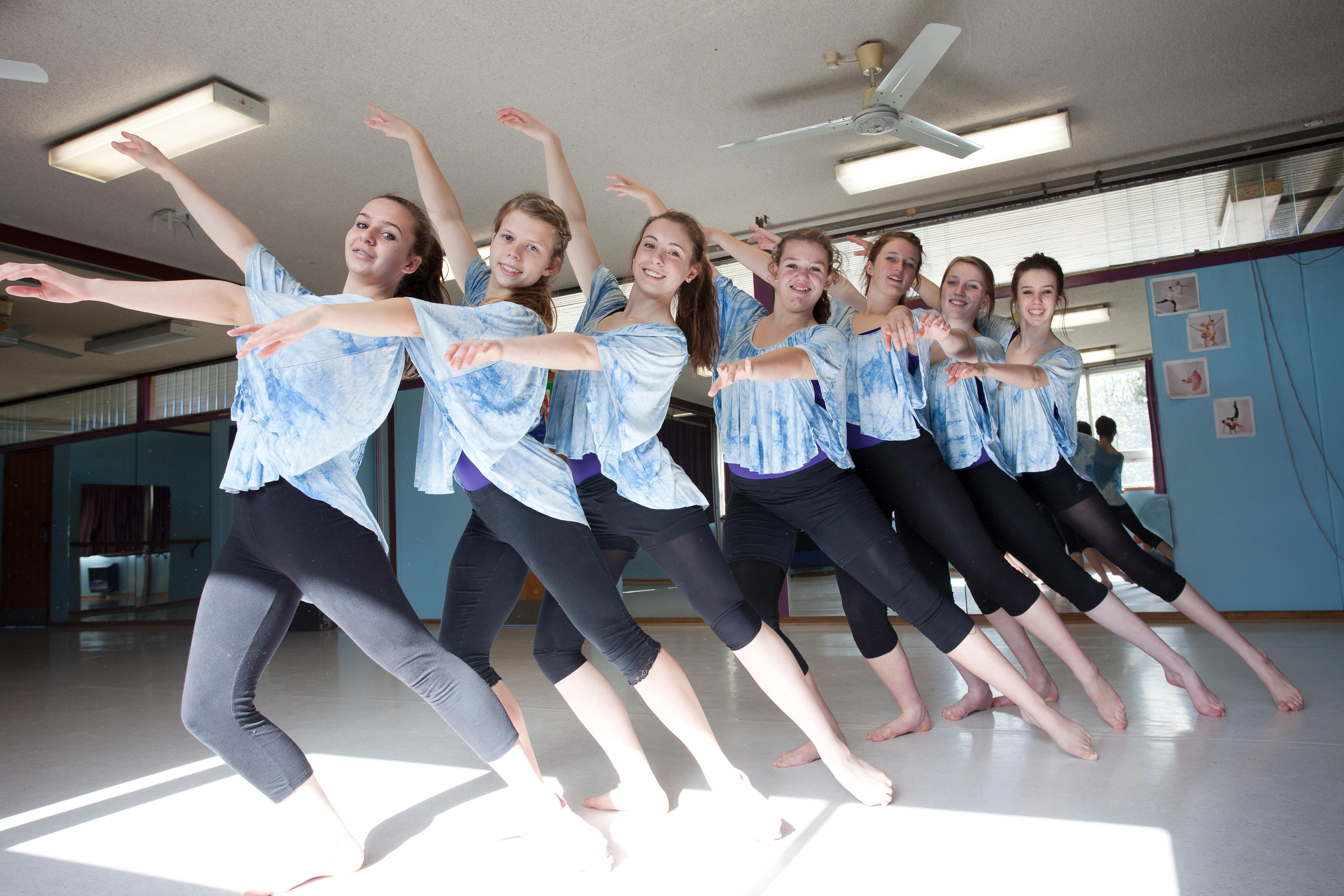 Dance students in the dance studio